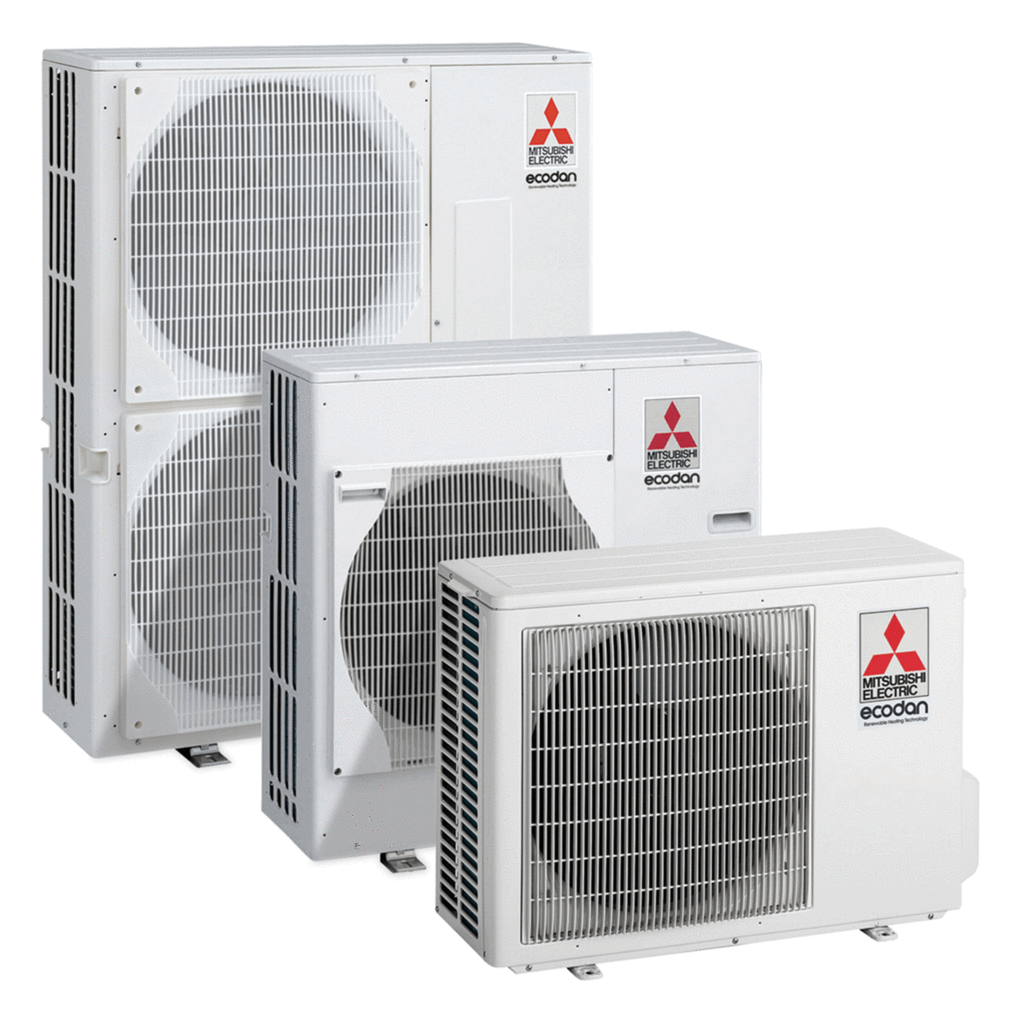 Mitsubishi Ecodan Range: Single Fan units up to 8kW Double Fan for up to 14kW.
